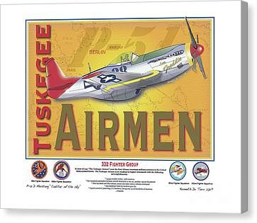P-51 D Tuskegee Airmen Canvas Print by Kenneth De Tore