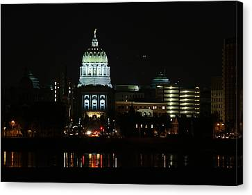 Pa State Capital Night Canvas Print by Rob Luzier