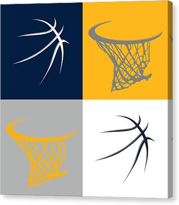 Pacers Ball And Hoop Canvas Print by Joe Hamilton