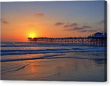 Pacific Beach Pier Sunset Canvas Print by Peter Tellone