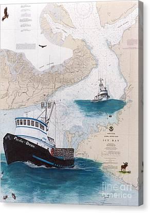 Pacific Dream Crab Fishing Boat Nautical Chart Art Canvas Print by Cathy Peek