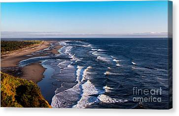 Pacific Ocean And The Columbia River Canvas Print by Robert Bales