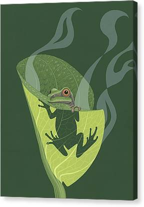 Pacific Tree Frog In Skunk Cabbage Canvas Print by Nathan Marcy