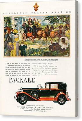 Packard 1930 1930s Usa Cc Cars Horses Canvas Print by The Advertising Archives