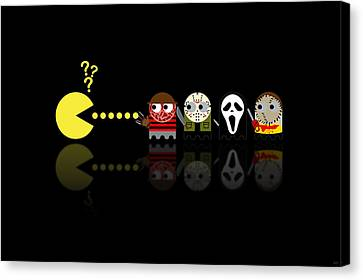Pacman Horror Movie Heroes Canvas Print by NicoWriter