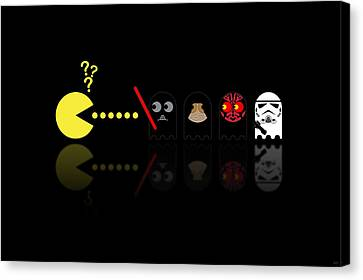 Star Canvas Print featuring the digital art Pacman Star Wars - 2 by NicoWriter