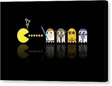 Star Canvas Print featuring the digital art Pacman Star Wars - 3 by NicoWriter
