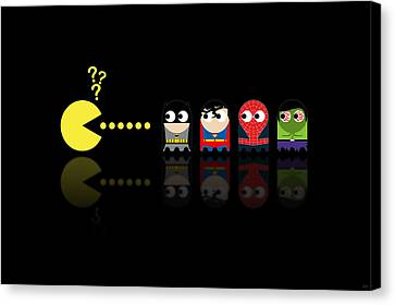 Pacman Superheroes Canvas Print by NicoWriter