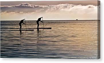 Paddle Surfing Canvas Print by Eva Kondzialkiewicz