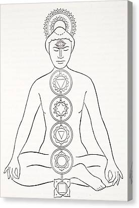 Padmasana Or Lotus Position Canvas Print by English School