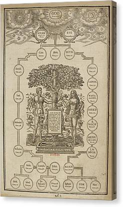 Page Of Biblical Genealogies Canvas Print by British Library