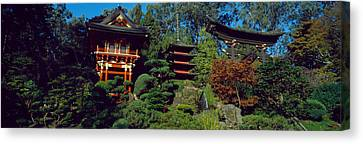 Pagodas In A Park, Japanese Tea Garden Canvas Print by Panoramic Images