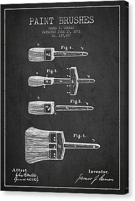 Paint Brushes Patent From 1873 - Charcoal Canvas Print by Aged Pixel
