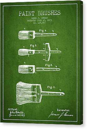 Paint Brushes Patent From 1873 - Green Canvas Print by Aged Pixel
