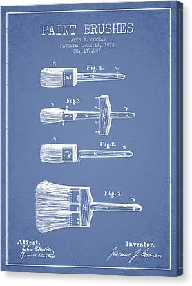 Paint Brushes Patent From 1873 - Light Blue Canvas Print by Aged Pixel