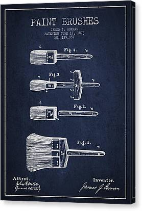 Paint Brushes Patent From 1873 - Navy Blue Canvas Print by Aged Pixel