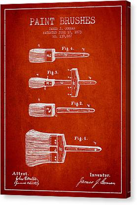 Paint Brushes Patent From 1873 - Red Canvas Print by Aged Pixel