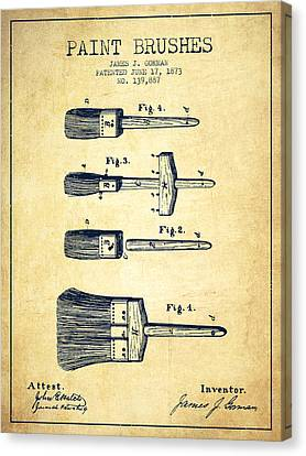 Paint Brushes Patent From 1873 - Vintage Canvas Print by Aged Pixel
