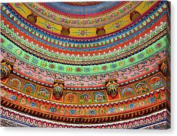 Painted Ceiling Of Shree Laxmi Narihan Canvas Print by Inger Hogstrom