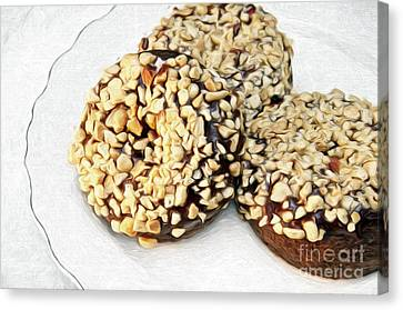 Painted Chocolate Fudge Nut Donuts Canvas Print by Andee Design