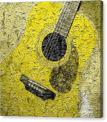 Painted Guitar - Music - Yellow Canvas Print by Barbara Griffin