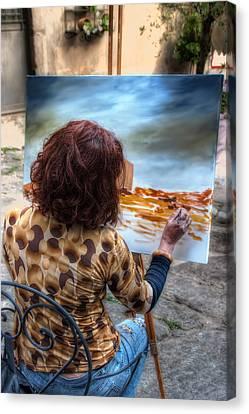 Painter To The Canvas Canvas Print by Leonardo Marangi
