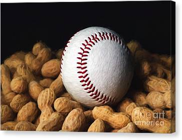 Painterly Baseball And Peanuts Canvas Print by Andee Design