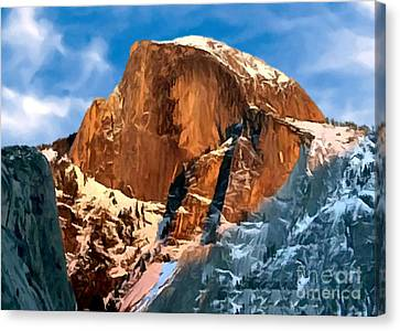 Painting Half Dome Yosemite N P Canvas Print by Bob and Nadine Johnston