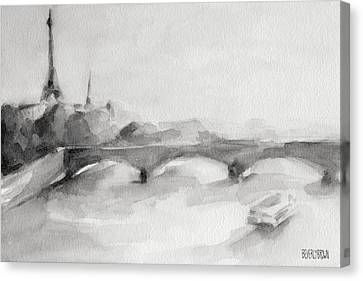 Painting Of Paris Bridge On The Seine With Eiffel Tower Canvas Print by Beverly Brown Prints