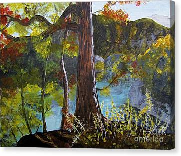 Painting Of Tree Of Golden Light Canvas Print by Judy Via-Wolff