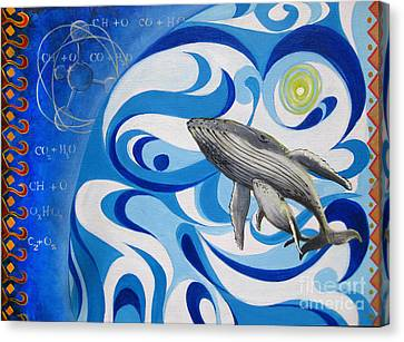 Painting Print Cosmic Whale Canvas Print by Sassan Filsoof