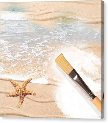 Painting The Beach Canvas Print by Amanda And Christopher Elwell