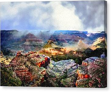 Painting The Grand Canyon Canvas Print by Bob and Nadine Johnston