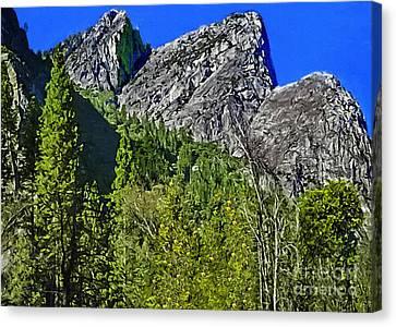 Painting Three Brothers Peaks Yosemite Np Canvas Print by Bob and Nadine Johnston