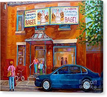 Paintings Of Montreal Fairmount Bagel Shop Canvas Print by Carole Spandau