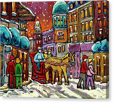 Paintings Of Old Quebec Magical Vieux Port Montreal City Scenes Caleche In Winter Carole Spandau Canvas Print by Carole Spandau