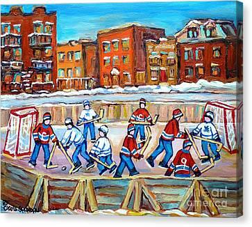 Paintings  Verdun Rink Hockey Montreal Memories Canadiens And Maple Leaf Hockey Game Carole Spandau Canvas Print by Carole Spandau