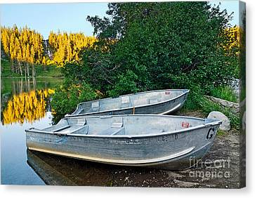 Pair Of Boats On A Lake In Mammoth Lakes During Sunrise In California Canvas Print by Jamie Pham