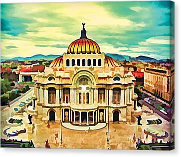 Palacio De Bellas Artes Mexico Canvas Print by Flo Karp