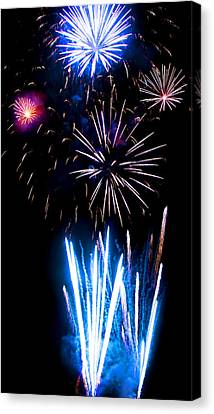 Pale Blue And Red Fireworks Canvas Print by Weston Westmoreland