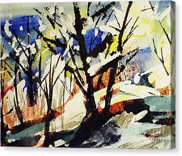 Palenville Winter Abstract - Catskills Canvas Print by Ellen Levinson
