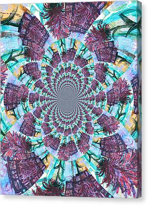 Palette Knife Flowers Kaleidoscope Mandela Canvas Print by Genevieve Esson