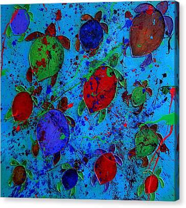 Palette Of Turtles Canvas Print by Patti Schermerhorn