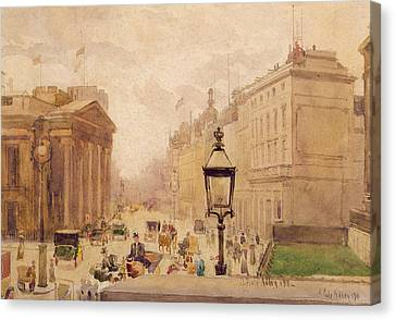 Pall Mall From The National Gallery Canvas Print by Joseph Poole Addey