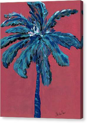 Palm On Pink  Canvas Print by Oscar Penalber