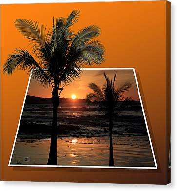 Palm Trees At Sunset Canvas Print by Shane Bechler