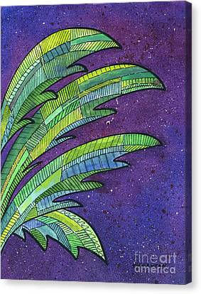 Palms Against The Night Sky Canvas Print by Diane Thornton