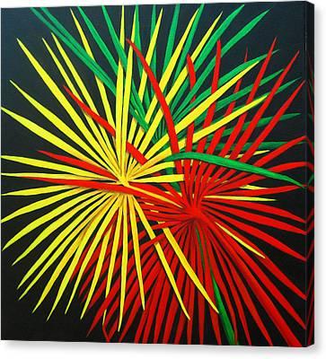 Palms Bursting Canvas Print by Roseann Gilmore