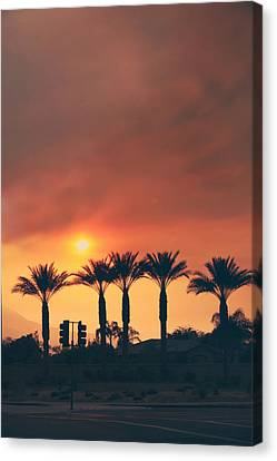 Palms On Fire Canvas Print by Laurie Search