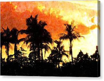 Palms See Red Canvas Print by Florene Welebny